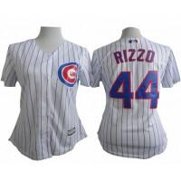 Cubs #44 Anthony Rizzo White(Blue Strip) Women's Fashion Stitched Baseball Jersey