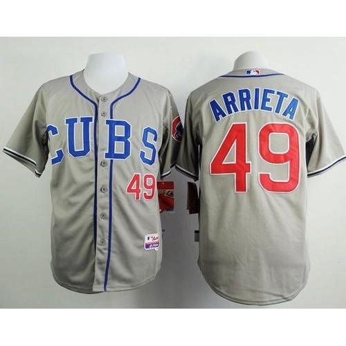 5288d1f40 Cubs  49 Jake Arrieta Grey Alternate Road Cool Base Stitched Baseball Jersey