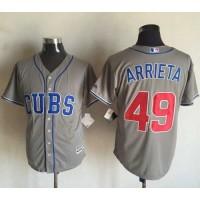 Cubs #49 Jake Arrieta Grey New Cool Base Stitched Baseball Jersey