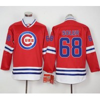 Cubs #68 Jorge Soler Red Long Sleeve Stitched Baseball Jersey