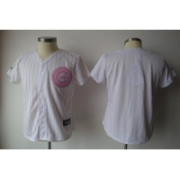 Cubs Blank White With Pink Strip Women's Fashion Stitched Baseball Jersey