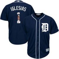 Detroit Tigers #1 Jose Iglesias Navy Blue Team Logo Fashion Stitched MLB Jersey