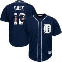 Detroit Tigers #12 Anthony Gose Navy Blue Team Logo Fashion Stitched MLB Jersey