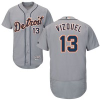 Detroit Tigers #13 Omar Vizquel Grey Flexbase Authentic Collection Stitched MLB Jersey