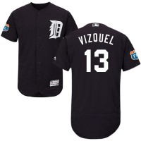 Detroit Tigers #13 Omar Vizquel Navy Blue Flexbase Authentic Collection Stitched MLB Jersey