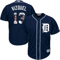 Detroit Tigers #13 Omar Vizquel Navy Blue Team Logo Fashion Stitched MLB Jersey