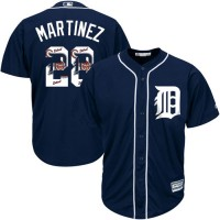 Detroit Tigers #28 J. D. Martinez Navy Blue Team Logo Fashion Stitched MLB Jersey