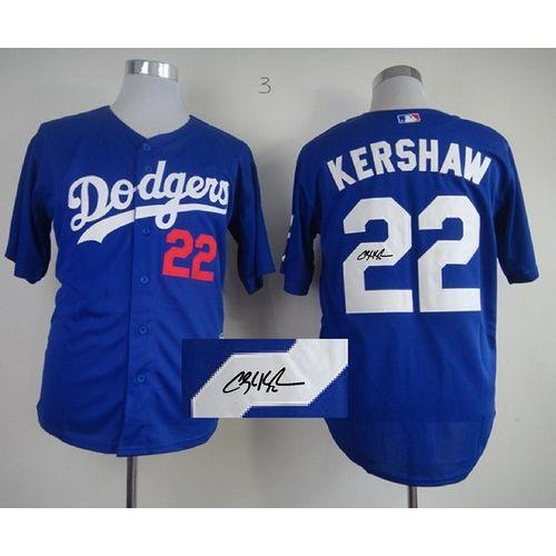 Dodgers  22 Clayton Kershaw Blue Cool Base Autographed Stitched Baseball  Jersey b3410cfec