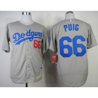 Dodgers #66 Yasiel Puig Grey Cool Base Stitched Baseball Jersey