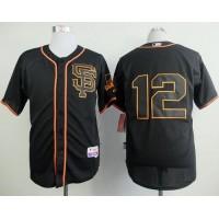 Giants #12 Joe Panik Black Alternate Cool Base Stitched Baseball Jersey
