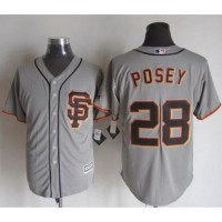Giants #28 Buster Posey Grey Road 2 New Cool Base Stitched Baseball Jersey