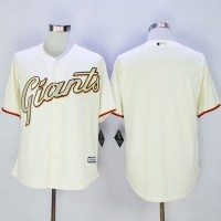 Giants Blank Cream(Gold No.) New Cool Base Stitched Baseball Jersey