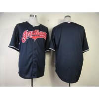 Indians Blank Navy Blue Cool Base Stitched Baseball Jersey