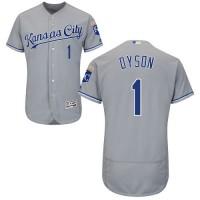 Kansas City Royals #1 Jarrod Dyson Grey Flexbase Authentic Collection Stitched MLB Jersey