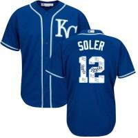 Kansas City Royals #12 Jorge Soler Royal Blue Team Logo Fashion Stitched MLB Jersey