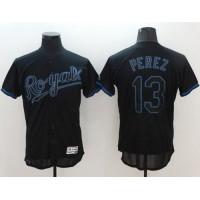 Kansas City Royals #13 Salvador Perez Black Fashion Flexbase Authentic Collection Stitched Baseball Jersey