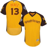 Kansas City Royals #13 Salvador Perez Gold Flexbase Authentic Collection 2016 All-Star American League Stitched Baseball Jersey