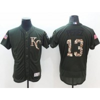 Kansas City Royals #13 Salvador Perez Green Flexbase Authentic Collection Salute to Service Stitched Baseball Jersey