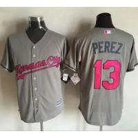 Kansas City Royals #13 Salvador Perez Grey New Cool Base 2016 Mother's Day Stitched Baseball Jersey
