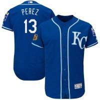 Kansas City Royals #13 Salvador Perez Royal 2017 Spring Training Flexbase Authentic Collection Stitched Baseball Jersey