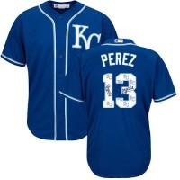 Kansas City Royals #13 Salvador Perez Royal Blue Team Logo Fashion Stitched MLB Jersey