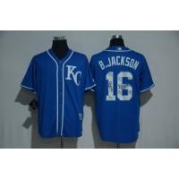 Kansas City Royals #16 Bo Jackson Blue Team Logo Print Cool Base Stitched Baseball Jersey