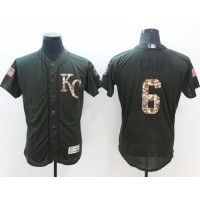 Kansas City Royals #6 Lorenzo Cain Green Flexbase Authentic Collection Salute to Service Stitched Baseball Jersey