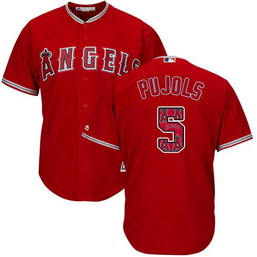 2d9cb8763 Los Angeles Angels Of Anaheim #5 Albert Pujols Red Team Logo Fashion  Stitched MLB Jersey