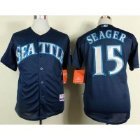 Mariners #15 Kyle Seager Navy Blue Cool Base Stitched Baseball Jersey