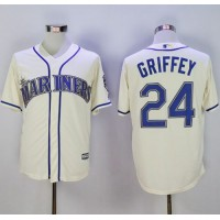 Mariners #24 Ken Griffey Cream New Cool Base2016 Hall Of Fame Patch Stitched Baseball Jersey