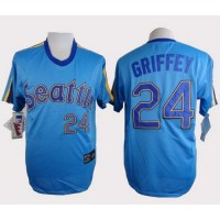 Mariners #24 Ken Griffey Light Blue Cooperstown Throwback Stitched Baseball Jersey