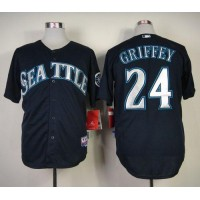 Mariners #24 Ken Griffey Stitched Navy Blue Baseball Jersey