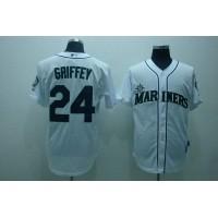 Mariners #24 Ken Griffey Stitched White Baseball Jersey
