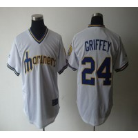Mariners #24 Ken Griffey White Cooperstown Throwback Stitched Baseball Jersey