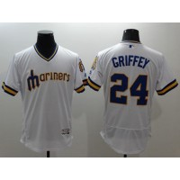 Mariners #24 Ken Griffey White Flexbase Authentic Collection Cooperstown Stitched Baseball Jersey
