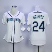 Mariners #24 Ken Griffey White Women's Fashion Stitched Baseball Jersey