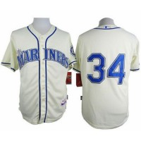 Mariners #34 Felix Hernandez Cream Alternate Cool Base Stitched Baseball Jersey