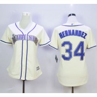 Mariners #34 Felix Hernandez Cream Alternate Women's Stitched Baseball Jersey