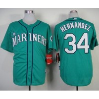 Mariners #34 Felix Hernandez Green Alternate Cool Base Stitched Baseball Jersey