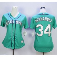 Mariners #34 Felix Hernandez Green Alternate Women's Stitched Baseball Jersey