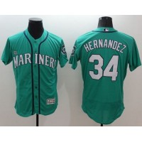 Mariners #34 Felix Hernandez Green Flexbase Authentic Collection Stitched Baseball Jersey