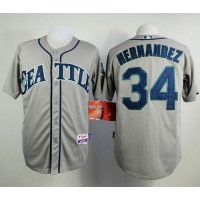 Mariners #34 Felix Hernandez Grey Cool Base Stitched Baseball Jersey