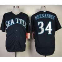 Mariners #34 Felix Hernandez Navy Blue Cool Base Stitched Baseball Jersey