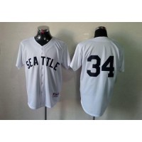Mariners #34 Felix Hernandez White 1909 Turn Back The Clock Stitched Baseball Jersey