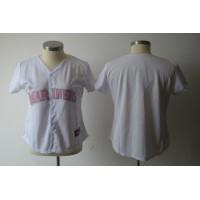 Mariners Blank White With Pink No. Women's Fashion Stitched Baseball Jersey