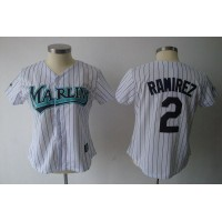 Marlins #2 Hanley Ramirez White Women's Fashion Stitched Baseball Jersey
