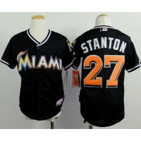 Marlins #27 Giancarlo Stanton Black Cool Base Stitched Youth Baseball Jersey