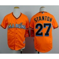 Marlins #27 Giancarlo Stanton Orange Cool Base Stitched Youth Baseball Jersey