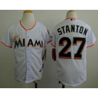 Marlins #27 Giancarlo Stanton White Cool Base Stitched Youth Baseball Jersey