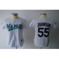 Marlins #55 Josh Johnson White Women's Fashion Stitched Baseball Jersey